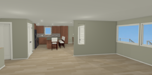 Three-dimensional rendering of the Seattle kitchen renovating by Fuller Living Construction